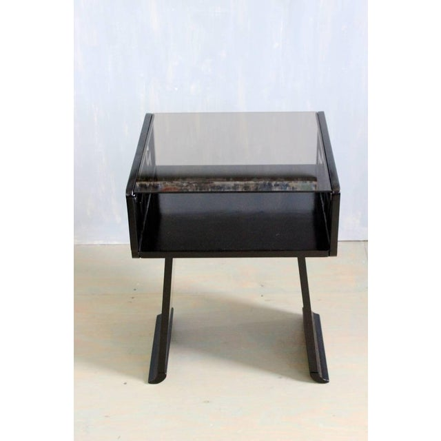 Pair of Chinese modern nightstands with grey glass. These tables have been ebonized. They could also function very well as...