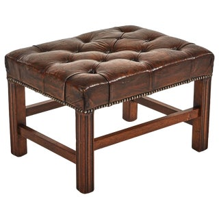 Early 20th Century English Leather Footstool or Bench For Sale