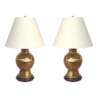 Christopher Spitzmiller Gold Lustre Glazed Ceramic Lamps-A Pair For Sale