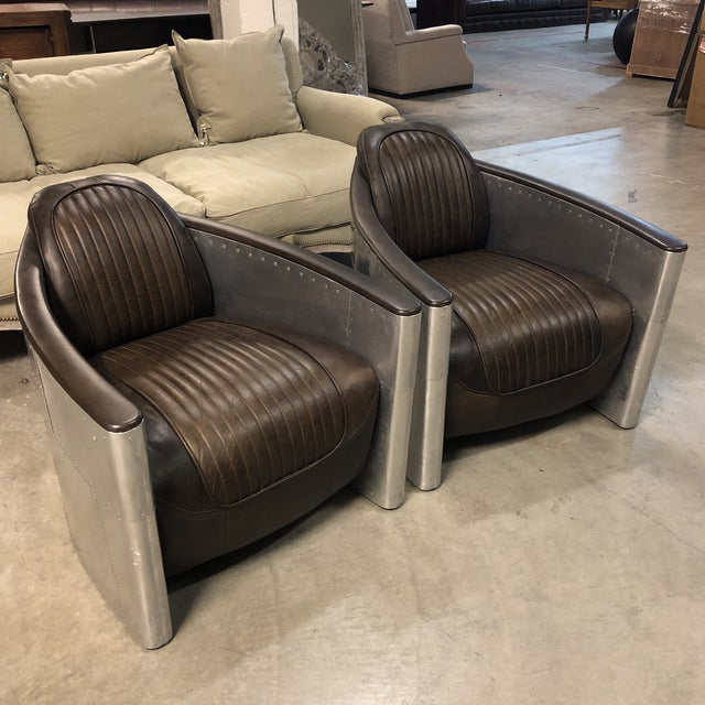 Mid-Century Modern Pair of Restoration Hardware Aviator Chairs For Sale - Image 3 of 13