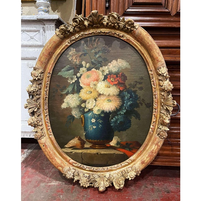 19th Century French Oval Oil on Board Floral Painting in Carved Gilt Frame For Sale - Image 12 of 12