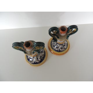 Pair of Italian Majolica Hand Painted Candle Holders Preview