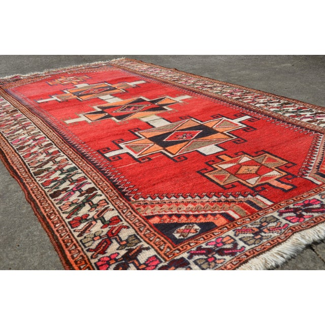 """Red Vintage Hand Knotted Persian Kazak Area Rug - 3' 11"""" X 7' 6"""" For Sale - Image 8 of 10"""