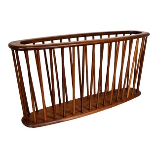 Large Size Arthur Umanoff Sculpted Walnut Magazine Rack For Sale