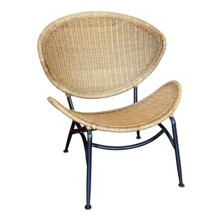Vintage Rattan Clam Shell Chair For Sale