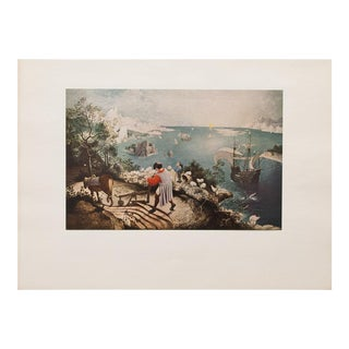 The Fall of Icarus by Peiter Bruegel Vintage Lithograph For Sale