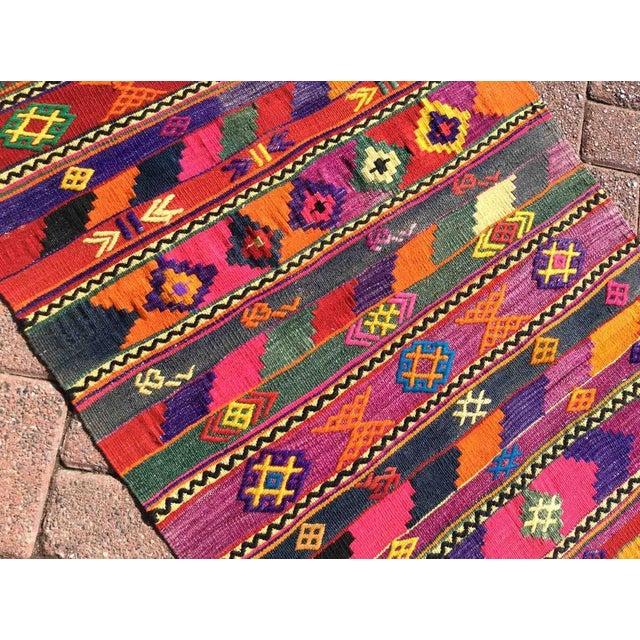 Textile Hot Pink Turkish Kilim Rug For Sale - Image 7 of 9