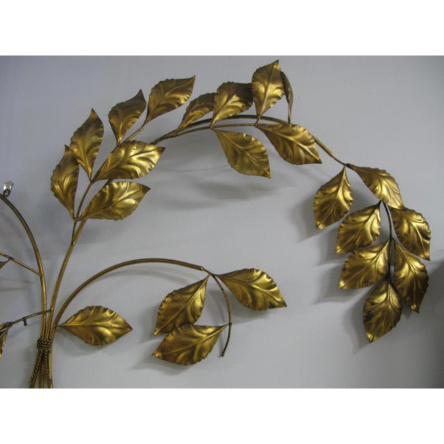 Hollywood Regency Vintage Mid Century Hollywood Regency Italian Gilded Leaves Wall Sculpture For Sale - Image 3 of 11