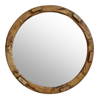 Round Salvaged Wood Mirror For Sale