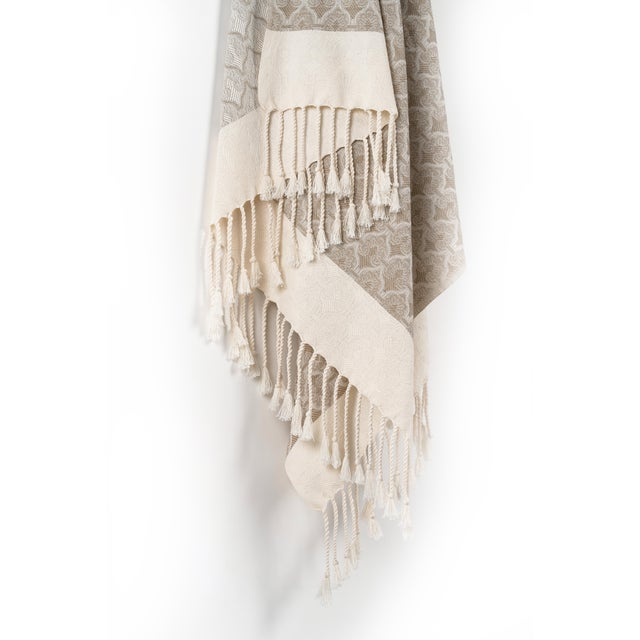 2020s Mute Eloquence Handmade Organic Cotton Towel in Beige For Sale - Image 5 of 8