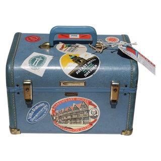 Blue Vintage Train Case With Original Labels
