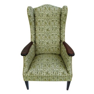 Mid-Century Fireside Wingback Chair For Sale