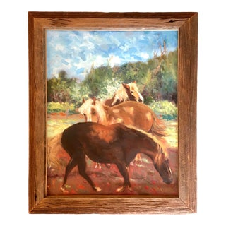 """""""Triple Grazin' Good Time!"""" Contemporary Field Landscape with Horses Oil Painting, Framed For Sale"""