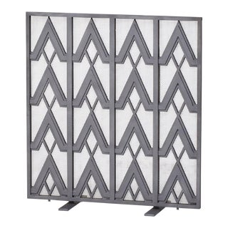Art Deco Style Geometric Motif Iron Fire Screen For Sale