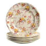 Image of Vintage Pink and Yellow Floral Spode Honeywall Luncheon Plate - Set of 6 For Sale