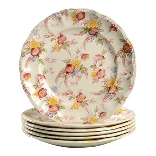 Vintage Pink and Yellow Floral Spode Honeywall Luncheon Plate - Set of 6 For Sale