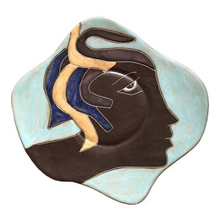 Vintage Mexican Signed Asymmetrical Face Hanging Plate For Sale
