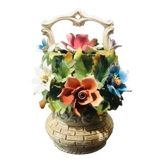 1930s Capodimonte Italian Basket of Flowers For Sale