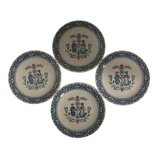 Vintage Hearts & Flowers Transferware Plates - 4 Pieces For Sale