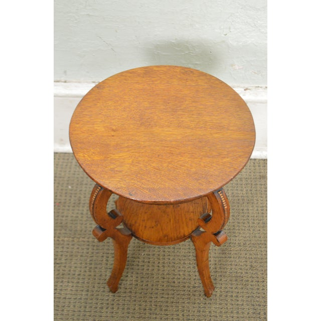 Antique Victorian Solid Oak 2 Tier Taboret Side Table - Image 9 of 10