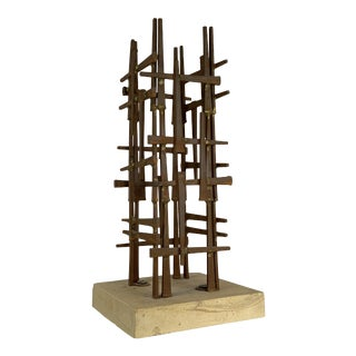 Abstract Steel Nail Sculpture by David Grossman For Sale