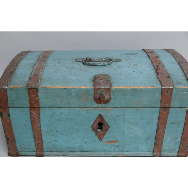 Iron Antique Swedish Chest Strong Box, Lock & Key For Sale - Image 7 of 8