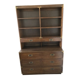 Lane Mid-Century Campaign Hutch Bookcase and Chest of Drawers For Sale