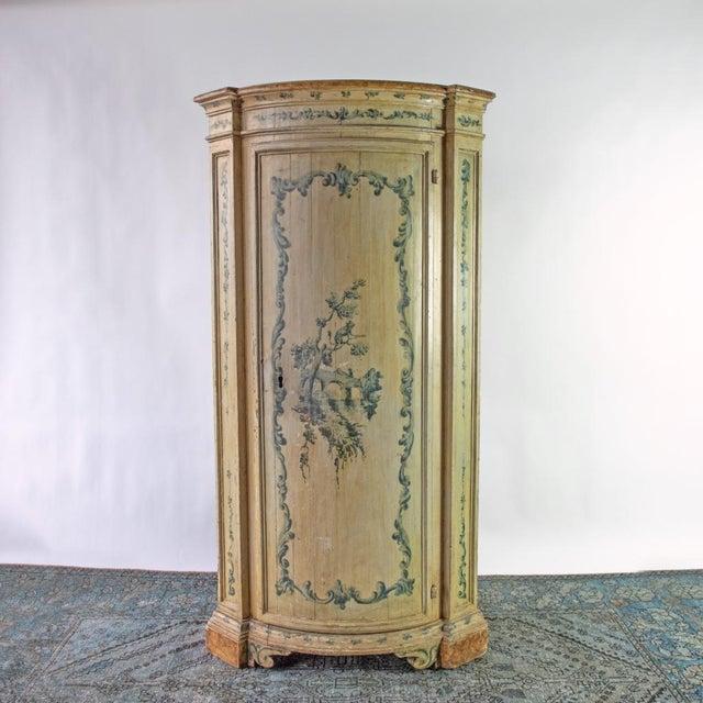 Wood Antique Italian Corner Cupboard For Sale - Image 7 of 7