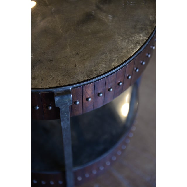 Thomas & Gray Two Tired Beaded Drum Accent Lamp Table For Sale - Image 4 of 6