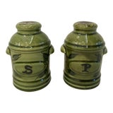 Image of Vintage Green California Pottery Salt & Pepper Set For Sale