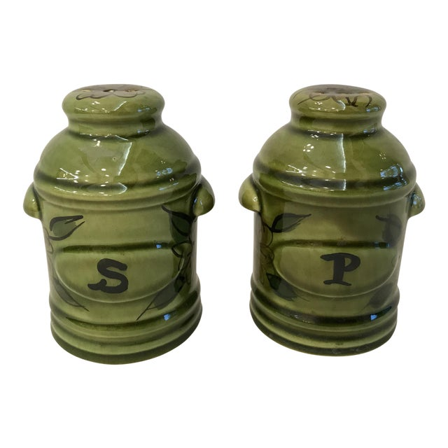 Vintage Green California Pottery Salt & Pepper Set For Sale