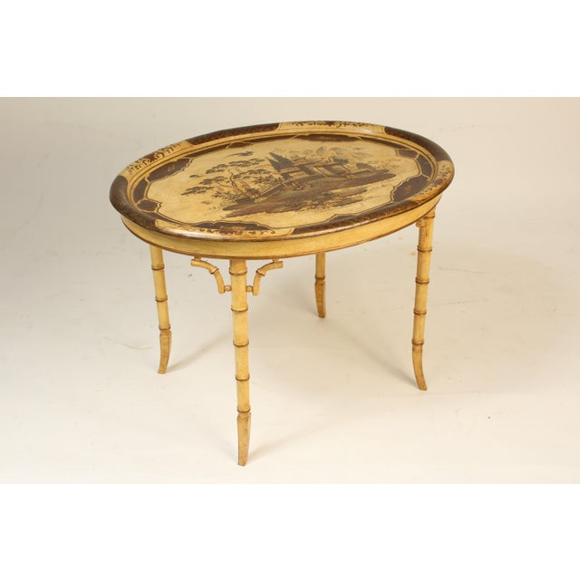 Asian English Regency Style Chinoiserie Decorated Tray Table For Sale - Image 3 of 13