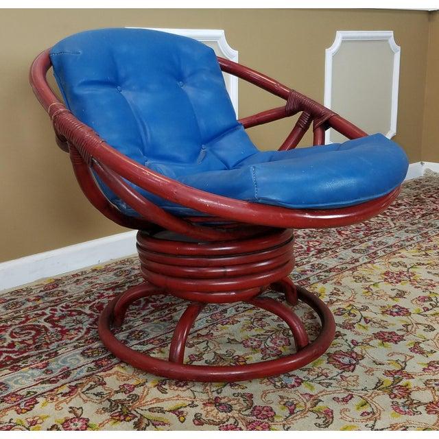 vintage ficks reed red rattan swivel papasan chair chairish