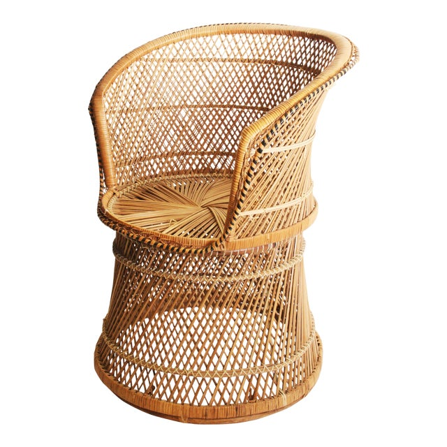 Vintage Boho Chic Wicker Barrel Chair For Sale