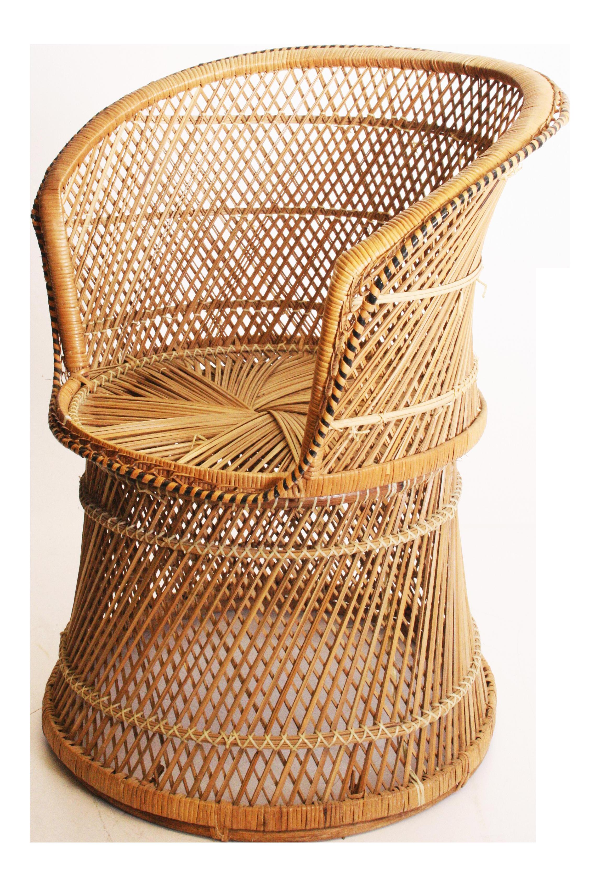 Vintage Boho Chic Wicker Barrel Chair