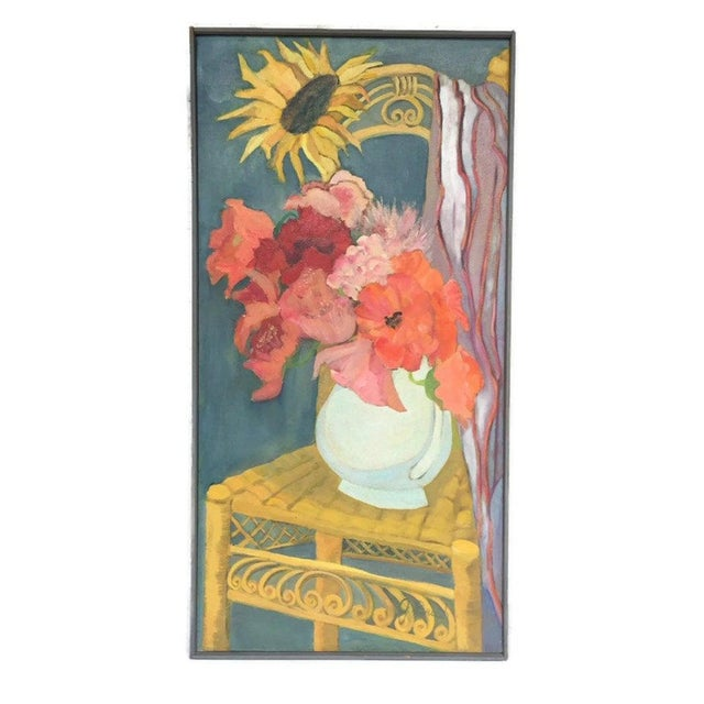 Orange 1980s Original Oil on Canvas Still Life Painting For Sale - Image 8 of 12