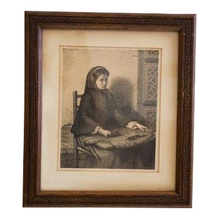 Antique Etching Wooden Frame For Sale