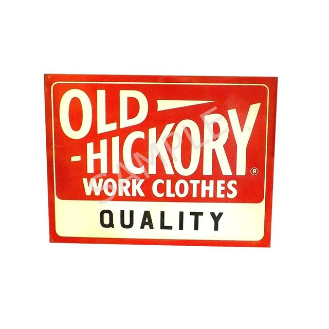 1950's Vintage Nos Old Hickory Workwear Sign For Sale - Image 4 of 8