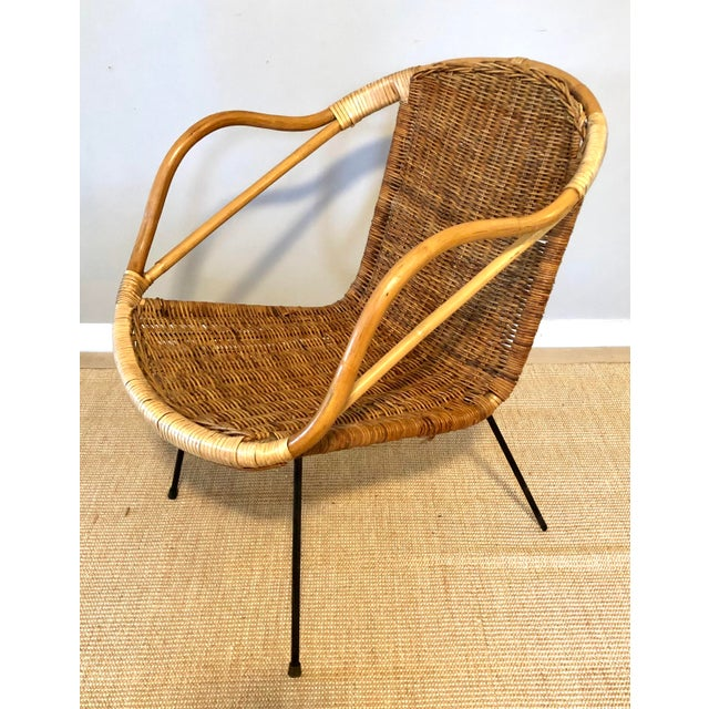 Boho Chic Mid Century Italian Rattan & Sculpted Bamboo Boho Chic Chair For Sale - Image 3 of 12