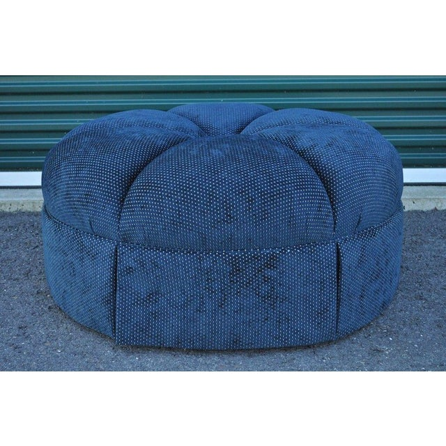 Hollywood Regency Style Large Century Blue Tufted Ottoman Coffee Table Stool - Image 5 of 11