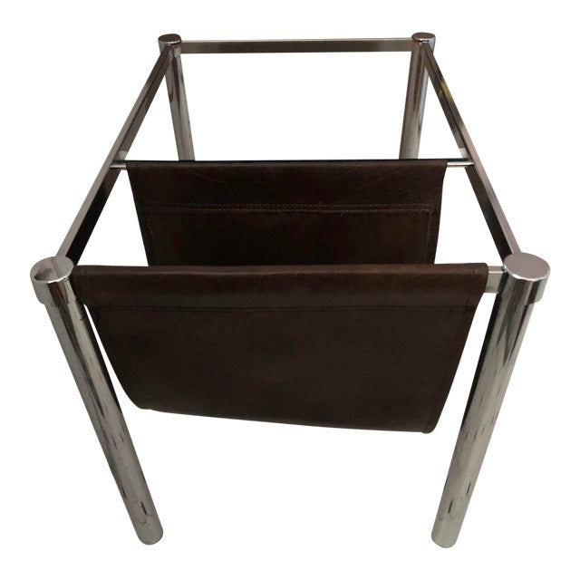 Milo Baughman for Design Institute of America Style Chrome and Glass-Top Table With Leather Magazine Rack For Sale