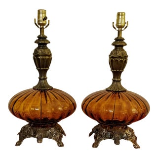Falkenstein Hollywood Recency Amber Optic Glass Table Lamps - A Pair