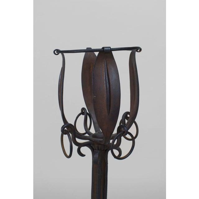 Art Nouveau French Art Nouveau Iron Andirons- A Pair For Sale - Image 3 of 4