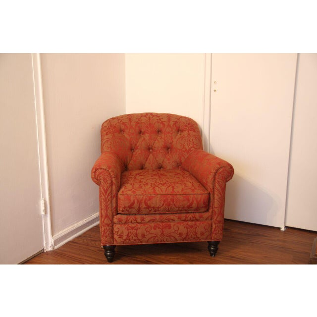 Martha Stewart Red and Gold Damask Accent Chair - Image 2 of 2