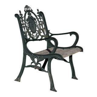 Vintage Victorian Neoclassical Style Heavy Iron Garden Chair For Sale