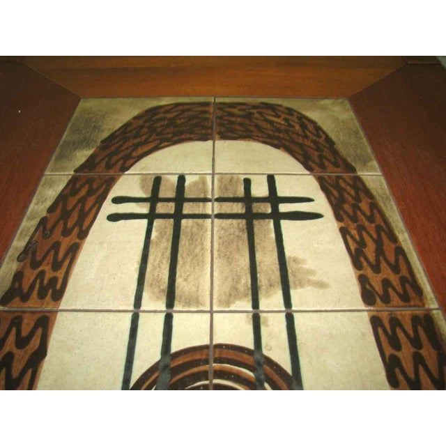 Modern Wooden Coffee Table with Tile Insert For Sale - Image 10 of 10