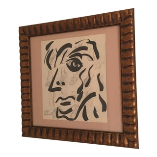 1969 Cubist Face Anatomical Painting by Peter Keil For Sale