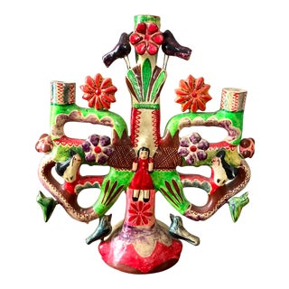 Aurelio Flores Mexican Pottery Tree of Life Candelabra For Sale
