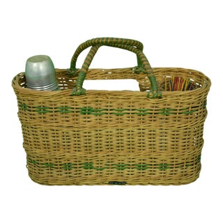 Brooks Brothers Wicker Adirondack Picnic Tote For Sale