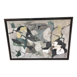 """1970s Abstract Painting """"i See You"""" Signed R. A. Mason For Sale"""